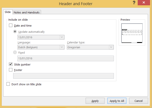 dialog box header and footer